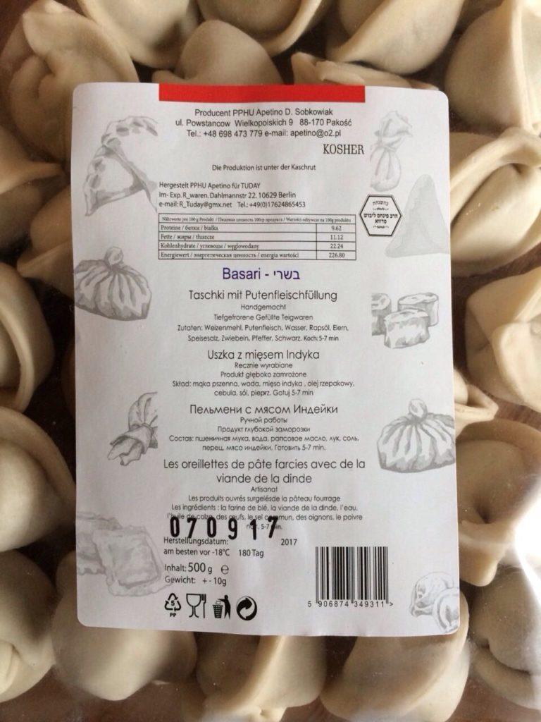 Des oreillettes de pâtes farcies, certifiés par KCS, production en Pologne