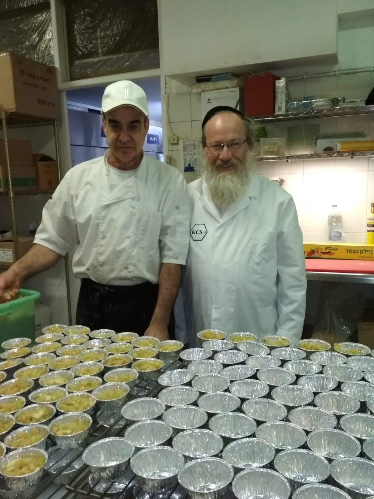 Rabbi Gotlib in the kitchen of a hotel in Crete